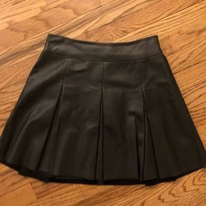 All Saints pleated leather skirt